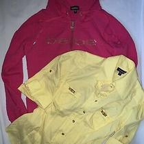 Lot of 2 Bebe Tops Hoodie Hot Pink Yellow Fitted Shirt Logo Gold Accent Size L Photo