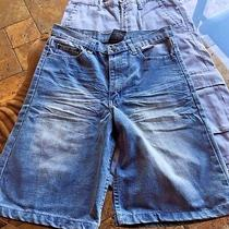 Lot of 2 Boy's Brooklyn Express Shorts Cargo Jean Denim Gray Blue Size 16 Photo