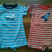 Lot of 2 Carter's 3 Mo Rompers Shortall Red Blue Gray Rocketship Pirate Ship Euc Photo