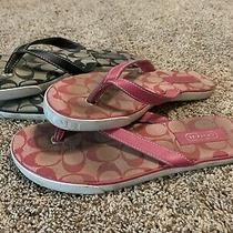 Lot of 2 Coach Womens Leather Sandals Flip Flops Size 9 - Black and Pink Photo