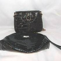 Lot of 2 Cole Haan Black Patent Leather Clutch Wristlet & Brown Clutch Croc Euc Photo