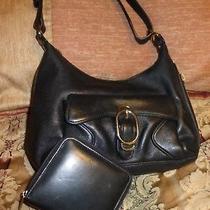 Lot of 2 Cole Haan & Kenneth Cole Black Leather Shoulder Bag  Handbag & Wallet Photo