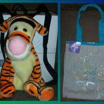 Lot of 2 Disney Bags-Tigger Plush Backpack & Winnie the Pooh Tote Bag-Euc/nwt Photo