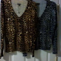Lot of 2 Express Leopard Print Sweaters sz.large Photo