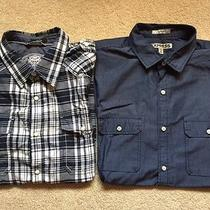 Lot of 2 Express Men's Fitted Short Sleeve Shirts / Large Photo