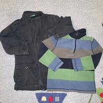 Lot of 2 Gap Kids Boy's Coat Jacket Utility Cargo Navy Size Xs 4& Striped Fleece Photo