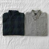 Lot of 2 Gap Kids Boys Button Down Plaid Stripe Long Sleeve Shirts Xxl 14-16 Photo
