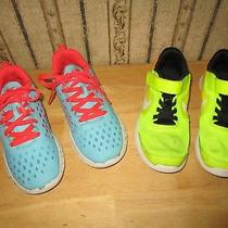 Lot of 2 Girl's Nike Blue Free Express & Nike Neon Revolution 3 Athletic - 13 C Photo