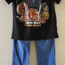 Lot of 2 h&m Boy's Angry Birds Star Wars Black Tshirt 6/8 & h&m Blue Pants 6/7 Photo