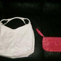 Lot of 2 Handbags  Faux Leather White Hobo & Hot Pink Clutch Photo