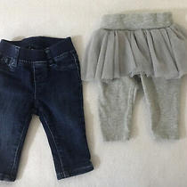 Lot of 2 Infant Girls Baby Gap Leggings Jeans 0-3 Months Photo