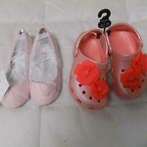 Lot of 2 Kids Shoes Crocs Classic Vivid Bloom Clogs and h&m Ballet Flats Photo