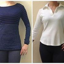 Lot of 2 Lady Gap Feather-Weight Knit Sweaterpolo Style Split-Neck Shirt Top Xs Photo
