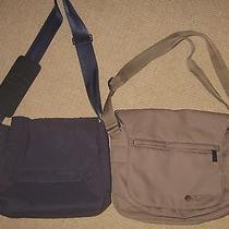 Lot of 2 Lesportsac Guy's Trace Khaki & Blue  Nylon Messenger Bags Photo