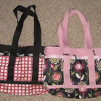 Lot of 2 Lesportsac skipper& Poppy Travel Expandable Shoulder Tote Bags 7004 Photo