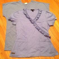 Lot of 2 Medical Scrubs Tops Sb & Rampage Apparel Womens Size M Medium Free Ship Photo