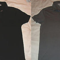 Lot of 2 Men's Express Black and Gray Collar Small Fitted Shirts Photo