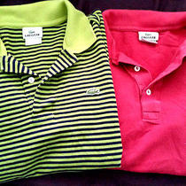 Lot of 2 Mens Blush Red & Striped Lacoste Short Sleeve Polo Shirts Size 4 Small Photo