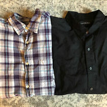 Lot of 2 Mens Long Sleeve Dress Shirts Large Plaid Solid Black Button Up Gap  Photo
