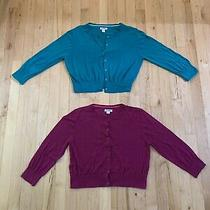 Lot of 2 Old Navy Teal & Pink Button Down Crop Cardigan Sweater 3/4 Sleeve Med Photo