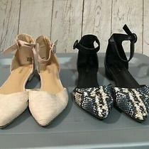 Lot of 2 Pair Womens Sandals Ankle Strap Express Size 8 Black & Beige Photo