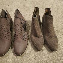Lot of 2 Pairs of Brown Faux Leather  Genuine Leather Booties Women Size 10m Photo