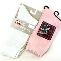 Lot of 2 Pink and Off-White Dress Socks Liz Claiborne/laleg Luxury Size 9-11 Photo