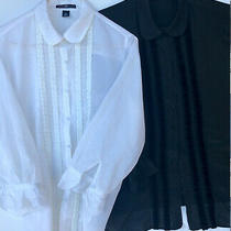 Lot of 2 - Pretty Sheer Ribbon-Detailed Ruffled-Cuff Blouses -- Gap Size 14 Photo