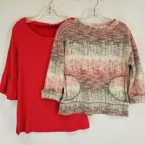 Lot of 2 Red 3/4 Sleeve Red Shirt Top  9-H15 Stcl Anthropologie  Pleione Sz S Photo