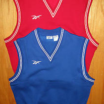 Lot of 2 Reebok Mens  Red & Blue v-Neck Cotton Blend Pullover Vest Size L  Nwot Photo