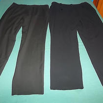 Lot of 2 Solid Black Pants Old Navy Stretch Grace Elements Size 10 Tapered Leg Photo