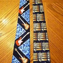 Lot of 2 Steven Harris Neck Ties - Music Themed - Electric Guitars & Treble Clef Photo