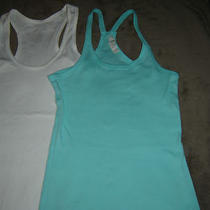 Lot of (2) Tank Tops-Racer Back-Aqua (Forever 21) M & White (Maurices) Xs Cotton Photo