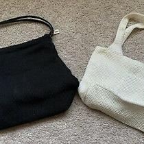 Lot of 2 the Sak Crochet Purses Black Cream Small Handbag Photo