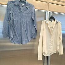 Lot of 2 Top Blouses Joie Slate Gray-Blue & Sanctuary Sheer Blouse Sequins Sz Xs Photo