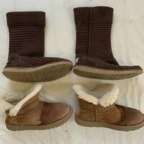 Lot of 2 - Ugg Australia Classic Winter Boots - Size 7 & 8 Chestnut Brown Photo