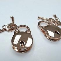Lot of  2  Vintage Antique Style Rose Gold Mini Padlocks With Keys Photo