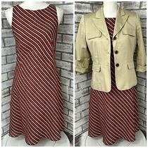 Lot of 2 Womens Ann Taylor Factory Dress and Tan Blazer Combo Size 6 Petite Rust Photo