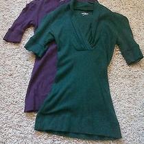 Lot of 2 X Express Purple & Forest Green Shawl Neckline Sweaters Knit Tops Sz Xs Photo