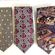 Lot of 3 100% Silk Ties Brand Names Pierre Balmain - Oscar De La Renta - Guess Photo