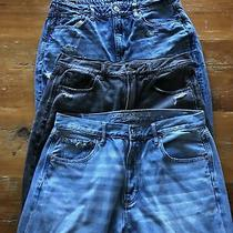 Lot of 3 American Eagle Mom Jeans Ripped Blue Black Size 12 Photo