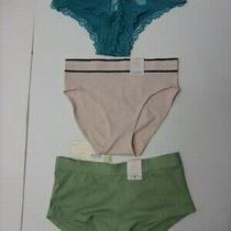 Lot of 3 Auden Panties Womens Sz Xs (0-2) Boyshortcheeky & Briefs Pinkgreen 53 Photo