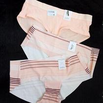 Lot of 3 Auden Women's Striped Peach Laser Cut Hipster Panties Size S (4-6) New Photo
