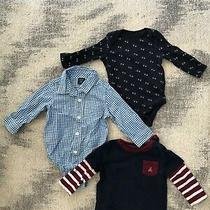 Lot of 3 - Baby Gap Boy Bodysuits  Navy  Blue Stripe Pocket Tee Size 6-12 Month Photo