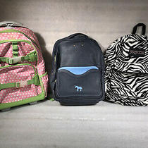 Lot of 3 Backpack's Book Bags / Jansport Zebra Print / Lapalette Leather / Pink Photo
