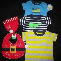 Lot of 3 Carter's  Baby Boy Clothes 6-12 Mos & Santa Hat W/ Bib by Home Elements Photo