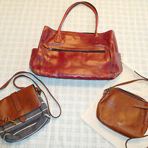 Lot of 3 Fossil Tote Shopper Laptop Purse Red Leather Crossbody Shoulder Bag Photo