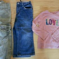 Lot of 3 - Gap Old Navy Toddler Girls Cute Camo Pants Jeans & Shirt  Size 2t Photo