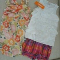 Lot of 3 Gymboree Floral Romper White Ruffle Top Gap Plaid Shorts-Baby Girl 3t Photo