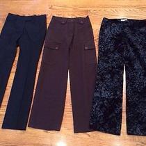 Lot of 3 h&m Black Trousers Work Dress Pants Black Velvet Italy France Sz 6 Photo